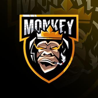 Król małpa maskotka logo szablon e-sport