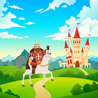 Król na koniu. książę w koronie i królewskich strojach jeździ do zamku lub pałacu na koniu na krajobrazie średniowiecznej rezydencji, ilustracja do bajki dla dzieci, kreskówka płaska grafika wektorowa