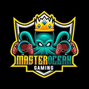 Król ośmiornica do gier, logo maskotki