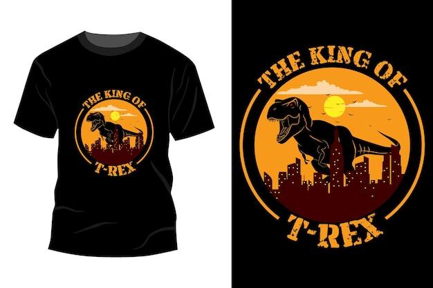 Król t-rex t-shirt makieta projekt vintage retro