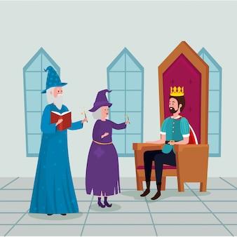 Król z czarodziejem i czarownicą w zamku