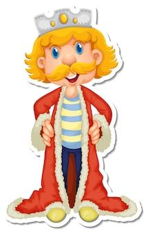 Król z czerwoną szatą naklejką z postacią z kreskówek