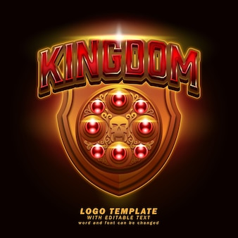 Królestwo logo szablon edytowalny efekt tekstowy wektor eps