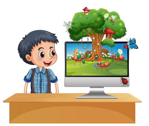 Królestwo owadów na tle ekranu komputera