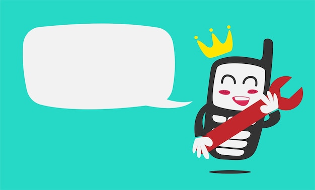 Królewiątka telefon komórki naprawy maskotki stary charakter z bąbel mowy szablonem