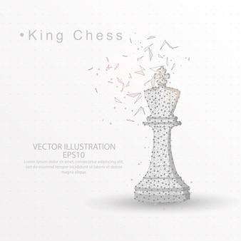 Królewiątko szachowa cyfrowo rysująca niska poli- druciana rama na białym tle.