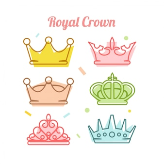 Królewska korona ikona ustawiająca wektorowa ilustracja