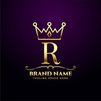 Królewska litera r luksusowe logo korony tiara