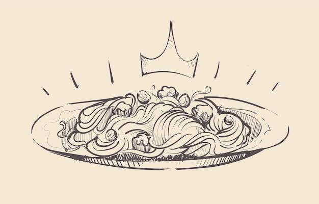 Królewska porcja spaghetti na szkicu talerza