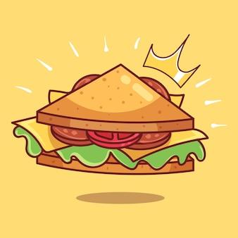 Królewska trójkątna kanapka z kiełbasą w stylu kreskówki z długim kwadratowym bekonem