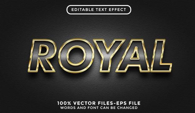 Królewski efekt tekstu. edytowalny efekt tekstowy ze złotymi wektorami premium