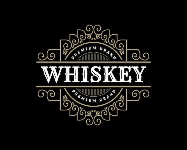 Królewski luksus w stylu vintage logo dla ręcznie robionych browarów piwnych marek whisky i napojów alkoholowych