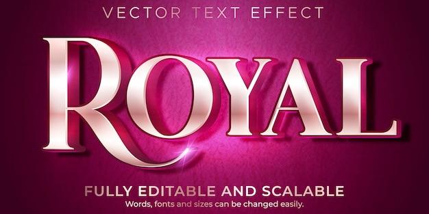 Królewski metaliczny efekt tekstowy, edytowalny elegancki i luksusowy styl tekstu