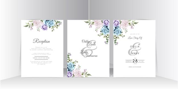 Królewski niebieski ręcznie rysowane szablon karty ślubu róża