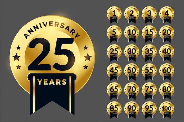 Królewski rocznica logo złoty emblemat duży zestaw