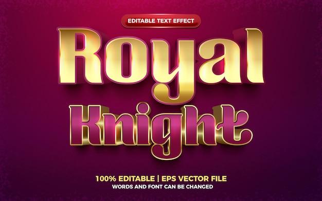 Królewski rycerz luksusowy złoty 3d edytowalny efekt tekstowy
