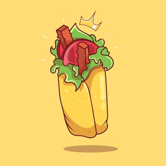 Królewski shawarma kebab kreskówka wektor ikona ilustracja