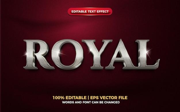 Królewski srebrny metaliczny elegancki 3d edytowalny efekt tekstowy