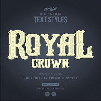 Królewski styl tekstu retro i vintage