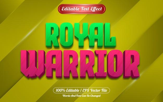 Królewski wojownik edytowalny styl gry z efektem tekstowym