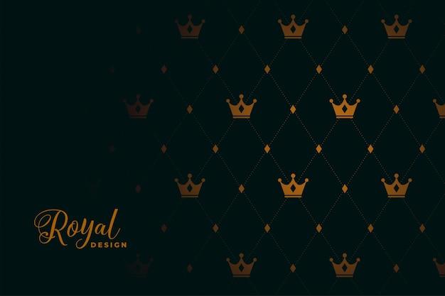 Królewski wzór korony na czarnym tle