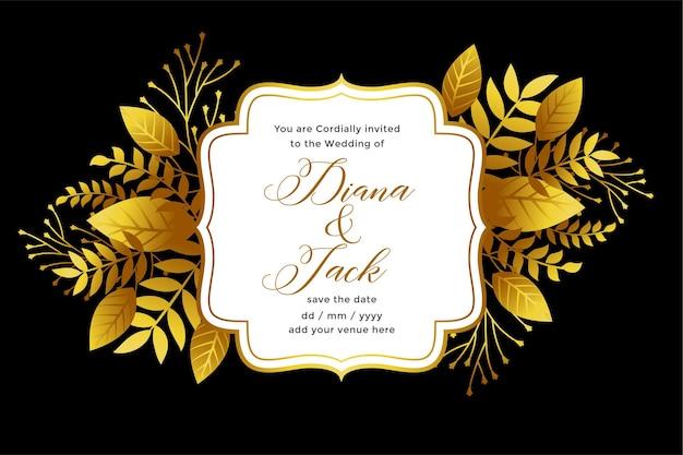 Królewski złoty szablon zaproszenia ślubne