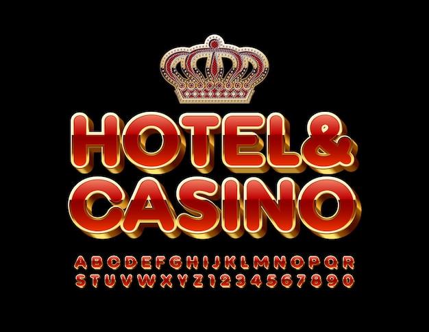 Królewskie godło hotel i kasyno. czerwone i złote litery alfabetu i cyfry. błyszcząca luksusowa czcionka