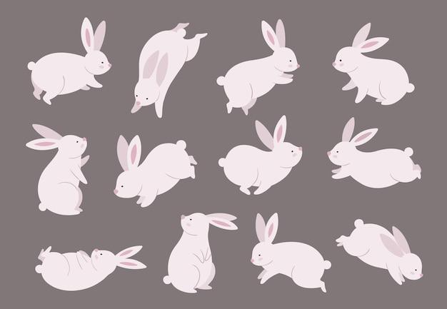 Króliczek w połowie jesieni. chiński festiwal, zestaw nowoczesnych znaków królika. azjatyckie śmieszne płaskie wakacje zwierząt, ilustracja wektorowa orientalny księżyc fest. królik i królik, chińskie wakacje w połowie jesieni