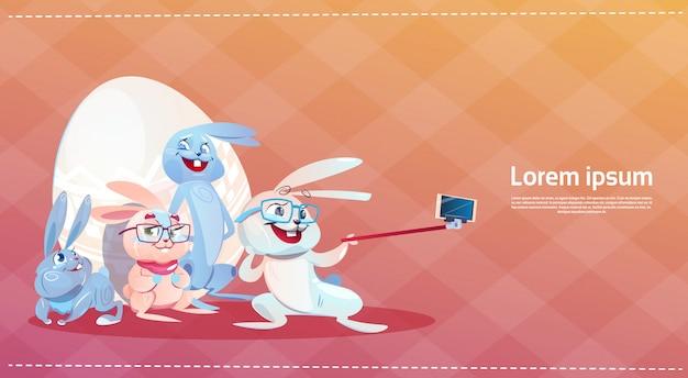 Królik biorąc selfie zdjęcie wielkanocny króliczek zdobione jajka kartkę z życzeniami