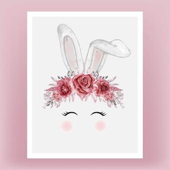 Królik głowa akwarela kwiat czerwony bordowy ręcznie rysowane ilustracji