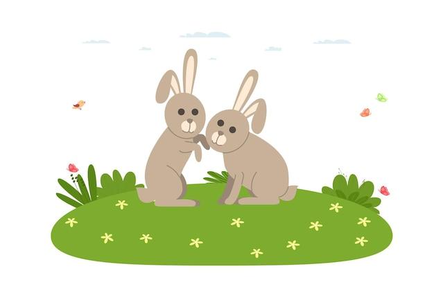 Królik. gospodarskie zwierzę domowe. kilka królików bawiących się na trawniku. ilustracja wektorowa w stylu płaski kreskówka.