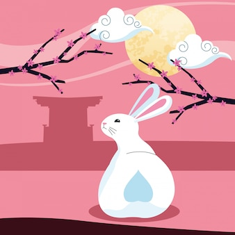 Królik i księżyc, wesołego festiwalu połowy jesieni