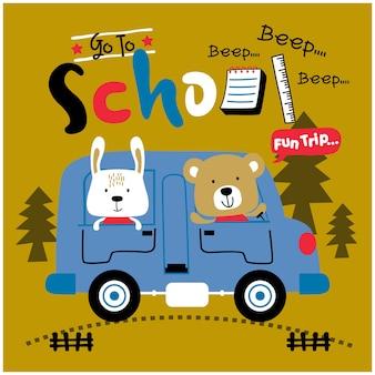 Królik i niedźwiedź wracają do szkoły z autobusem zabawnej kreskówki zwierząt