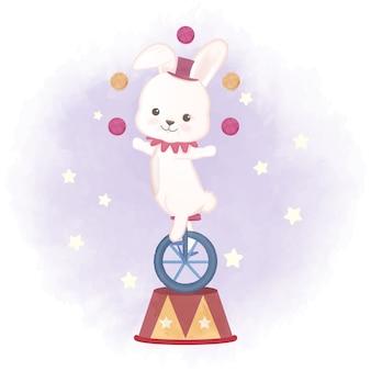 Królik i żonglerka piłki ręcznie rysowane ilustracji