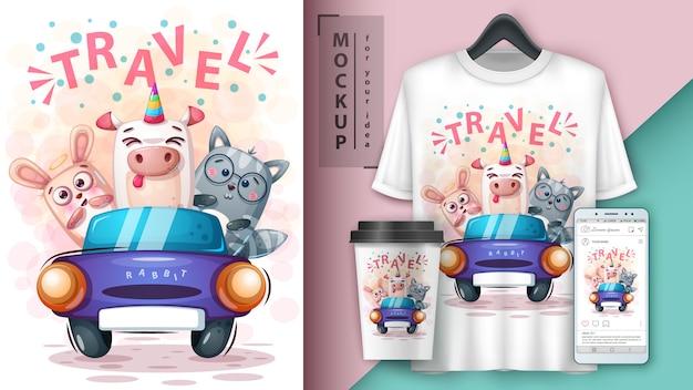 Królik, kot, ilustracja jednorożca