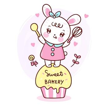 Królik królik na babeczce śliczna kreskówka dla piekarni.