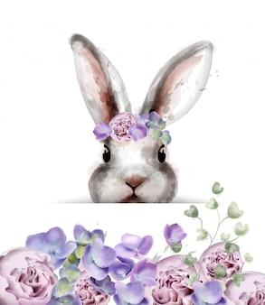 Królik królik z kwiatami akwarela