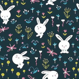 Królik leśny wzór. śliczne postacie z kwiatami i ważkami. ilustracja przedszkola na ciemnym tle.