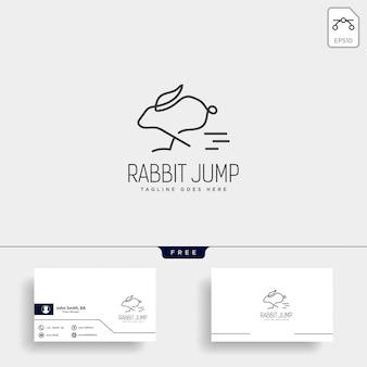 Królik lub królik przeskoczyć logo stylu linii sztuki zwierząt