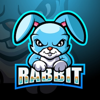 Królik maskotka esport logo ilustracja