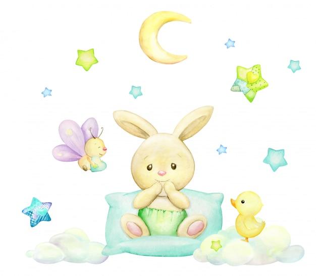 Królik, motyl, księżyc, gwiazdy, chmury, kaczuszki, styl kreskówkowy. akwarela clipart na na białym tle.