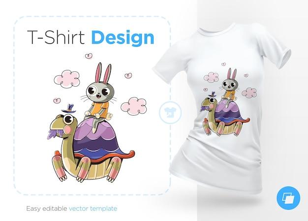 Królik na żółwiu. nadruki na koszulkach. na białym tle ilustracja na białym tle.