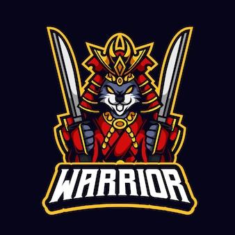 Królik samuraj wojownik trzymający logo maskotki katana