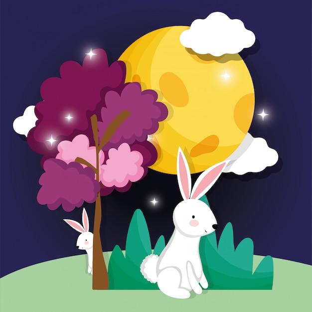 Królik szczęśliwy księżyc festiwal obrazu