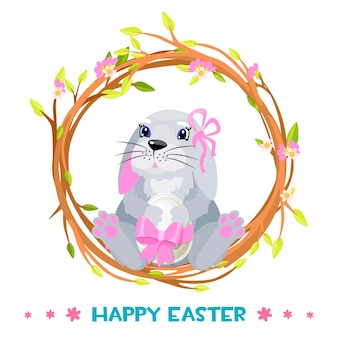 Królik w wieńcu na wesołych świąt z jajkiem. śliczny króliczek w kwiatku w wieniec. wesołych świąt logo.