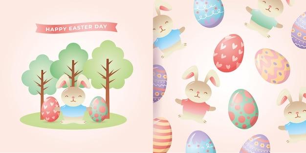Królik z jajkami wielkanocnymi i drzewami i wzór
