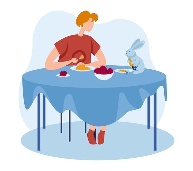 Królik zwierzę domowe w domu dziewczyny ludzi, ilustracja. postać młodej kobiety ma obiad, słodkie zwierzę przy stole. projekt stylu życia szczęśliwego domu, króliczek odpoczywa w graficznej rodzinie, troszczy się o zwierzę