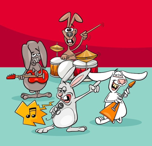 Króliki muzyków rockowych zespół ilustracja kreskówka