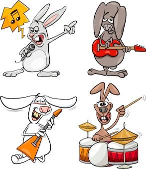 Króliki rock muzyków ustawić kreskówki