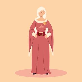 Królowa, kobieta w strojach średniowiecznych